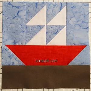 sailboat quilt block pattern Step 8