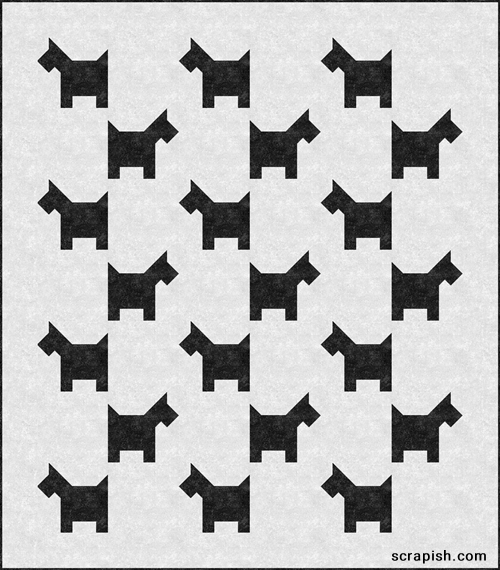Dogs in Squares Pattern \u2013 LAP QUILT \u2013 Black and White