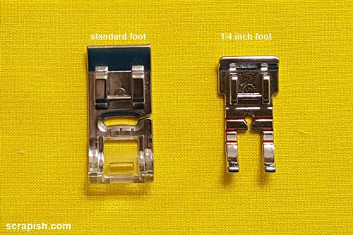 Picture of two sewing machine presser feet: standard presser foot and 1/4 inch foot.