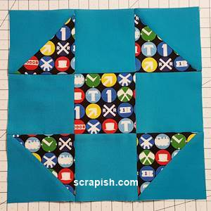 shoo fly quilt block pattern Step 7