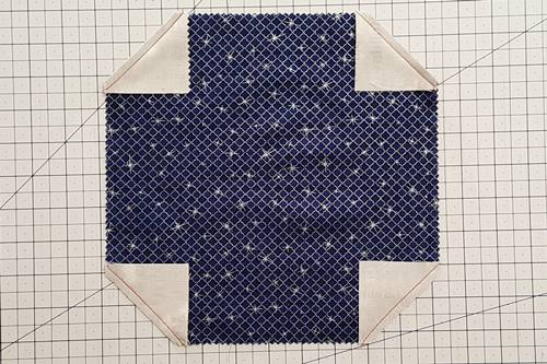 Steps 2 and 3 Snowball Quilt Block: Cut Corners and Stitch Seams