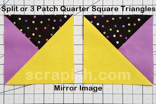 A picture of mirror image quarter square triangles.