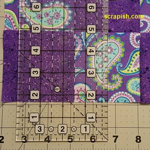 Disappearing Nine Patch Quilt Block Step 2 Cutting Line