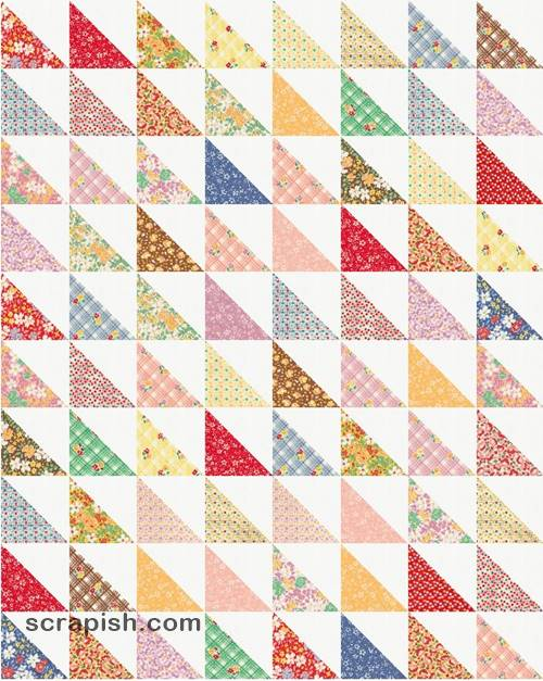 Picture of a half square triangle quilt pattern.