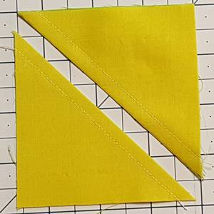 Half square triangles after cutting apart