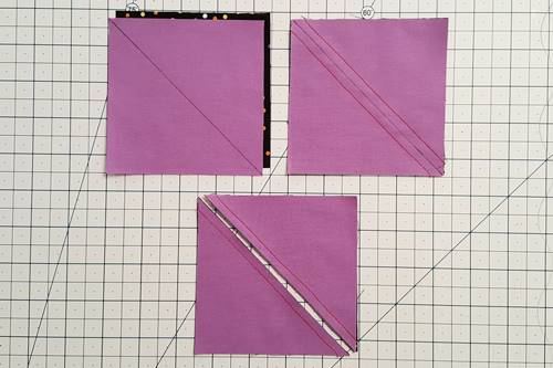 Step 1a - 1c Hourglass Quilt Block: Make half square triangles.