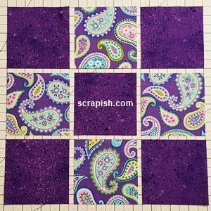 Nine Patch Quilt Block Pattern layout