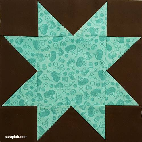 Eight Point Star Quilt Block Pattern