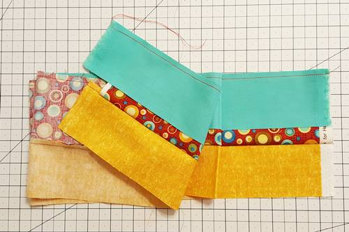 Step 2g Strip quilting: Here, you can see how both ends of the strip set work out.